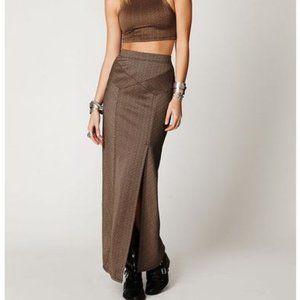 Free People Brown Stripey Sculptor Maxi Skirt Med